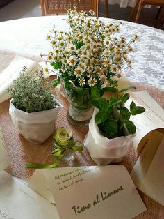 "Un allestimento ""aromatico"", in #canavese VERDE JUTA BIANCO Herb Wedding Centerpieces, Wedding Table Decorations, Wedding Desert Table, Rustic Wedding, Wedding Ideas, Wedding Place Settings, Beautiful Table Settings, Burgundy Wedding, Diy Garden Decor"