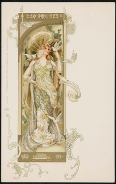 Art Nouveau style postcard by Eva Daniell. Published by Raphael Tuck & Sons Image and text courtesy MFA Boston.