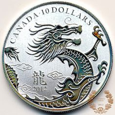 Year of the Dragon - Fine Silver $10 Coin (2012) Royal Canadian Mint (RCM) Pure Gold and Silver