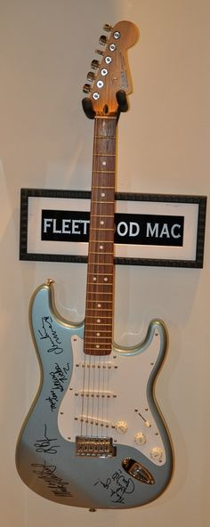 Fleetwood Mac – Custom Paint Fender Stratocaster hand signed in Black Marker by: Mick Fleetwood – Stevie Nicks – Lindsey Buckingham – Christine McVie – John McVie.  This is the first Fleetwood Mac Guitar in gallery in 2013! See the whole collection of signed guitars.  http://www.rockstargallery.net/signed-guitars #fleetwoodmac   #rockstargallery