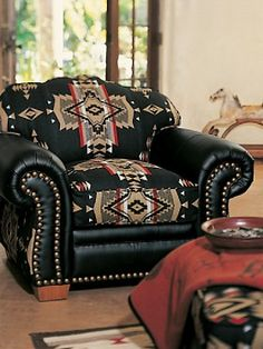 Leather Western Chair - Ideas on Foter Southwestern Chairs, Southwestern Decorating, Southwest Decor, Southwest Style, Western Furniture, Rustic Furniture, Home Furniture, Furniture Design, Furniture Dolly