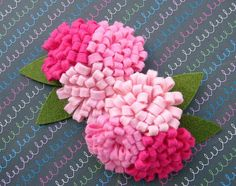 Wool Felt Flower  Pink Collection Pom Pom by AMarketCollection