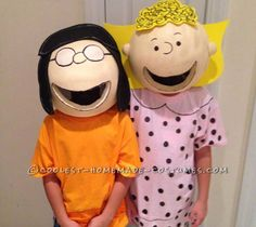 Making the Peanuts costumes for our school Halloween skit, I first tried to make the head out of paper mache but the punching balloons kept breaking and it Sally Brown Costume, Charlie Brown Costume, Sally Costume, Charlie Brown Halloween, Peanuts Halloween, Halloween Parade, Halloween 2017, Group Halloween Costumes For Adults, Last Minute Halloween Costumes