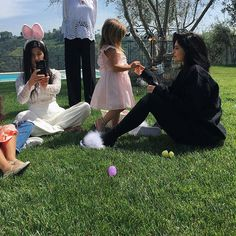 Pin for Later: Your Family Probably Dressed a Little Differently Than the Kardashians on Easter  Kylie wore furry shoes with her cozy black separates.