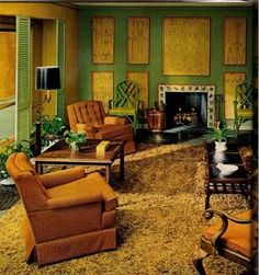1970s •~• gold, green, & rust living area, Woman's Day, October 1971