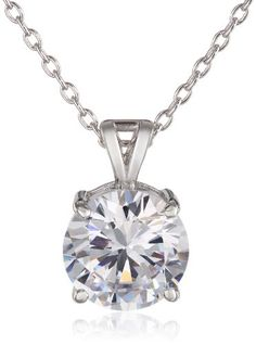 Charles Winston Sterling Silver 9mm Round Cubic Zirconia Pendant Necklace 18 *** Click image to review more details.