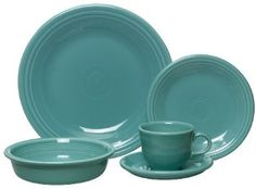Fiestaware at Kohl's - Shop our colorful collection of Fiesta plates and dishes, including this Fiesta Dinnerware Set, at Kohl's. Aqua Kitchen, Kitchen Dishes, Kitchen Decor, Kitchen Dining, Turquoise Kitchen, Kitchen Ideas, Dining Room, Kitchen Shelves, Kitchen Stuff