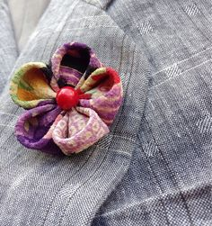 Mens Lapel Pin Flower Kanzashi Brooch Silk Lapel Flower Lapel Pin Custom Lapel Pins Men Colorful Boutonniere Boyfriend Gift For Him Suit by exquisitelapel on Etsy https://www.etsy.com/listing/244121802/mens-lapel-pin-flower-kanzashi-brooch