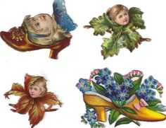 Victorian Die Cut Scrap Girls in Shoe & Flowers c1880