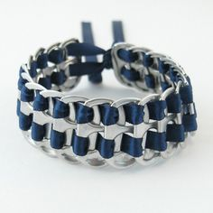 pop tab bracelet  dark blue stacked weave  7  inch .