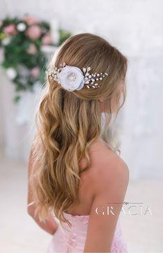 ELISAVET White Bridesmaid Bridal Hair Flower Wedding Hair Clip by TopGracia   #topgraciawedding#bridalhairaccessories#weddingheadband