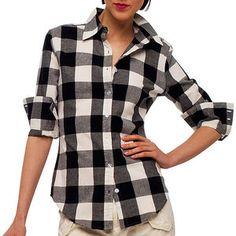 Norma Kamali - Women's Long-Sleeve Button-Down Buffalo-Plaid Shirt