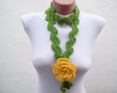 Hand crochet Lariat Scarf Green Yellow Flower Lariat by nurlu