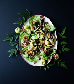 Roasted Brussels Sprouts Salad with Bacon and Walnut Apple Dressing