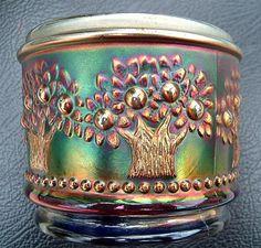 Fenton Cobalt Blue Orange Tree powder jar, turn of the century (20th).