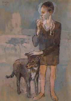 Pablo Picasso - Boy with a Dog, 1905. Gouache on cardboard #art#picasso#painting