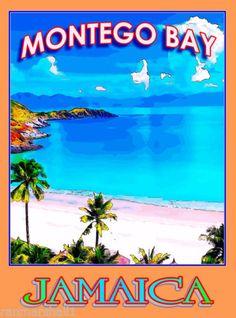 Montego-Bay-Jamaica-Caribbean-Islands-Island-Travel-Advertisement-Art-Poster