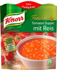 Knorr+Feinschmecker+Tomatensuppe+mit+Reis Vegan Recipes, Vegan Meals, Salsa, Ethnic Recipes, Food, Brown Ankle Boots, Vegane Rezepte, Essen, Salsa Music