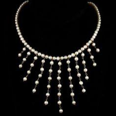 Vintage Cultured Pearl 14k Gold Fringe Necklace | eBay