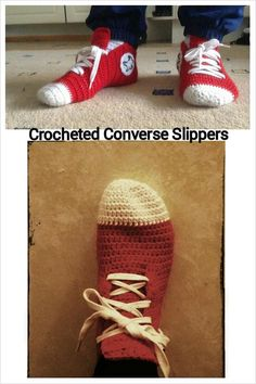 Crocheted Converse Slippers