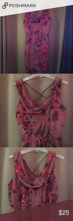 American Rag Large maroon floral dress Sheer floral layer over solid maroon layer. Low front and back. Back has criss cross. Waist is defined. American Rag Dresses Midi