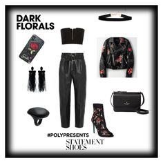 """DARK FLORALS"" by applerose-radebe on Polyvore featuring Petar Petrov, Betsey Johnson, Balmain, American Eagle Outfitters, Kate Spade, Oscar de la Renta and Uma 