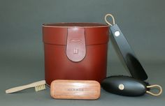 Hermes Rouge H Box Leather Accessory and Shoe Grooming Kit