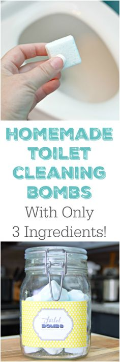 Homemade Cleaning Products - 3 Ingredient Homemade Toilet Cleaning Bombs - DIY Cleaners With Recipe and Tutorial - Make DIY Natural and ll Purpose Cleaner Recipes for Home With Vinegar, Essential Oils Homemade Cleaning Products, Cleaning Recipes, House Cleaning Tips, Natural Cleaning Products, Cleaning Hacks, Cleaning Supplies, Household Products, Natural Cleaning Solutions, Cleaning Quotes