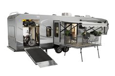 Open Range Rolling Thunder& are a toy hauler and have patio. Toy Hauler Camper, Truck Bed Camper, Camper Storage, Fifth Wheel Toy Haulers, Fifth Wheel Campers, Jon Boats For Sale, Patio Kits, Patio Ideas, Open Range Rv