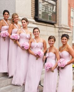 The Bridesmaids Dresses All seven bridesmaids wore the same Amsale dress (minus a shoulder strap for the maid of honor). Amsale Bridesmaid, Elegant Bridesmaid Dresses, Cheap Prom Dresses, Brides And Bridesmaids, Amsale Bridal, Pink Dresses, Martha Stewart Weddings, Bridesmaid Inspiration, Bridesmaid Ideas