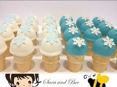 Ice cream pops decorated with snowflake wafers. Perfect for a Frozen theme birthday party.
