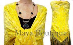Buttercup Yellow Silk Burnout Velvet Piano Shawl Fringe Wrap Scarf Hand Dyed Maya Matazaro(BoutiqueMaya)