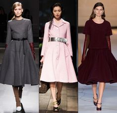 One can also expect the fall and winter of 2014 to witness an ever-growing sensibility towards the 1950s signature elements of femininity. The swing jackets and full skirt fantasies will be reenvisioned together with the cinched waists and elbow length gloves, calling to mind icons like Grace Kelly and Audrey Hepburn.1950s fashion at Ports 1961, Prada and Rochas, F/W '13