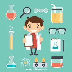 Pequeño científico con los elementos de laboratorio Vector Gratis