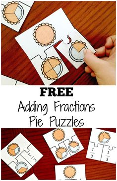 Practice adding fractions with like denominators. These free pie puzzles are perfect for helping children visualize adding fractions.