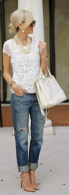 white lace and pearls