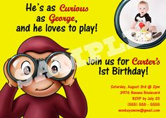 Curious George Birthday Invitation personalized with photo $7.50