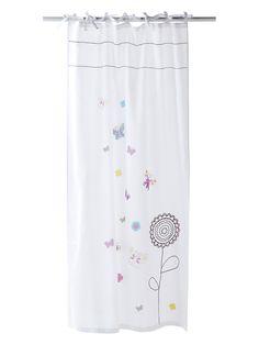 Voilage blanc étoiles roses pour chambre d\'enfant