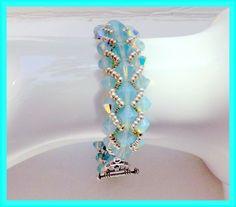 Crystal Bracelet Turquoise Opal Swarovski  Crystal by lyrisgems, $75.00