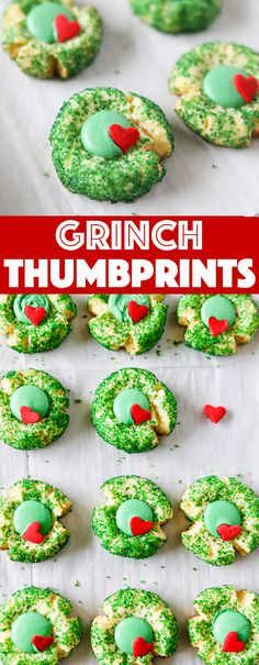 Grinch Cookies Grinch Inspired Christmas Thumbprint Cookies - - Grinch Cookies are the cutest Christmas cookie thumbprints around! Easy to make and perfect for Grinchy gift giving! Grinch Cookies, Cute Christmas Cookies, Christmas Sweets, Christmas Christmas, Christmas Goodies, Holiday Cookies, Simple Christmas, Christmas Things, Christmas Ideas