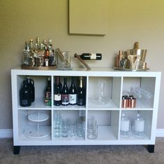 Bar area created by using Ikea EXPEDIT / KALLAX shelving unit.