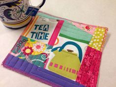 Tea mug rug, kitchen, mini quilt, mom present, birthday, aqua blue and pink, tea time on Etsy