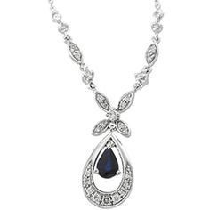 14kr. White Gold Diamond and Sapphire Necklace