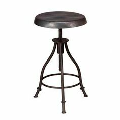 """Hand-worked iron stool with a swiveling base and industrial design.           Product: Stool    Construction Material: Iron    Color: Burnt wax   Features:  Industrial designHand-worked    Swivel base  Dimension: 28"""" H x 15"""" Diameter"""