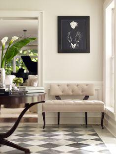 Black and White Checkered Floors with White Border - Linda Ruderman Interiors Inc Portfolio Image