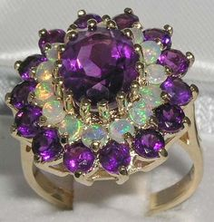 English 9K 9ct Yellow Gold Genuine Large Amethyst by GemsofLondon, $527.00