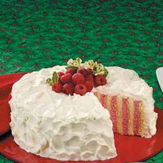 Raspberry Ribbon Cake Recipe -I guarantee your guests will exclaim over this showstopper cake. It takes a little extra fussing but never fails to take my family's breath away.every single time! Köstliche Desserts, Delicious Desserts, Raspberry Desserts, Cake Recipes, Dessert Recipes, Icing Recipes, Ribbon Cake, Cupcake Cakes, Cupcakes