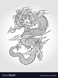 Illustration about Traditional Asian Dragon. This is vector illustration ideal for a mascot and tattoo or T-shirt graphic. Illustration of dragon, black, ethnicity - 33671675 Body Art Tattoos, Tattoo Drawings, Wolf Tattoos, Tatoos, Gypsy Tattoos, Tattoos Skull, Ankle Tattoos, Traditional Japanese Dragon, Dragon Coloring Page