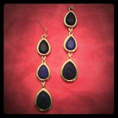 Tear drop trio earrings. 2 shades of blue with gold, very elegant. Jewelry Earrings
