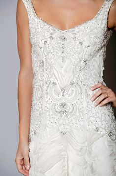 Beaded wedding dress by Anne Barge, Fall 2012